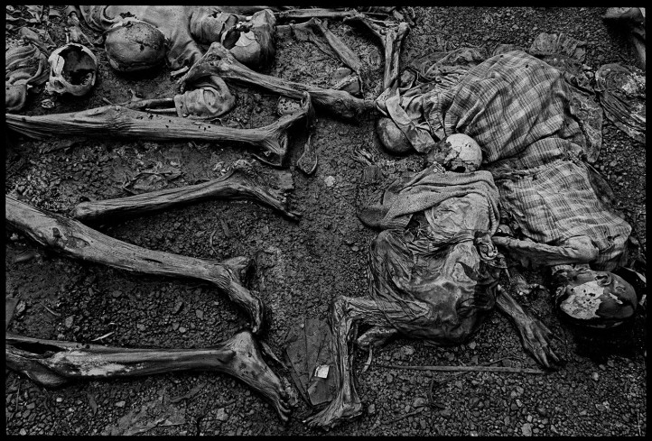The massacre at Nyarabuye took place in the grounds of a Catholic Church and school. Hundreds of Tutsis, including many children, were slaughtered at close range, Rwanda, 1994.  Photo by James Nachtwey