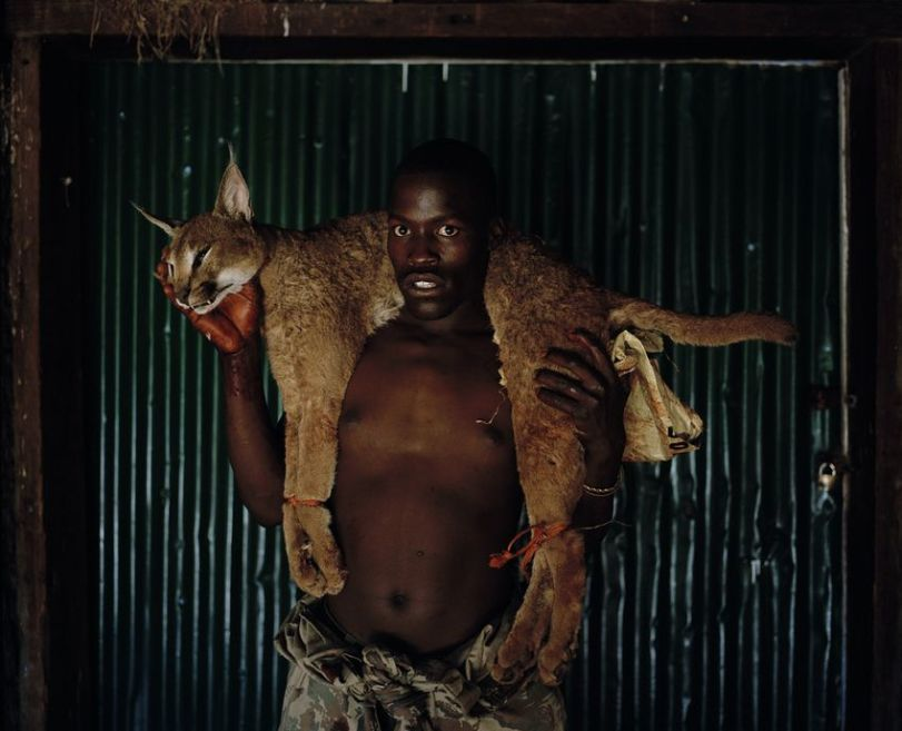 Xhosa huntsman with lynx. south Africa, from the series hunters. Photo by David Chancellor