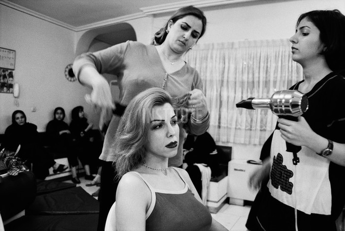 Beauty salon, in downtown Tehran. One of the beauty thereapist says that 70% of her clients have had  nose-jobs - at least. Nazi Maleky (pictured), 36, has a sixteen year old son and a 12 year old daughter. She has had a nose job. Photo by Zed Nelson