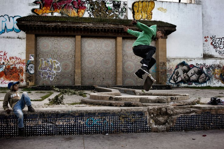 March 2012. Rachid Ait Yahi, a 28-year-old Casablanca resident, is unemployed and whiles away his time skateboarding with his friends at the Park de la Ligue Arabe in the city center in Casablanca. Photo by Yuri Kozyrev