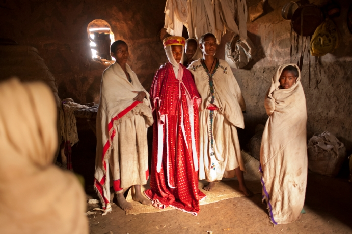 At age 11, Destaye, center, marries 23-year-old Addisu in a traditional Ethiopian Orthodox wedding in 2008. Photo by Stephanie Sinclair